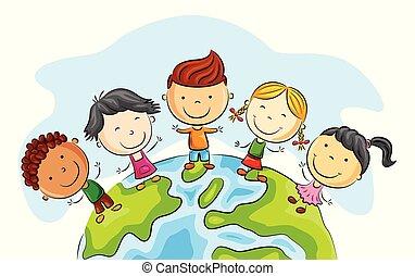 debout, autour de, mondiale, heureux, dessin animé, gosse