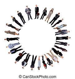debout, autour de, professionnels, collage, cercle, vide