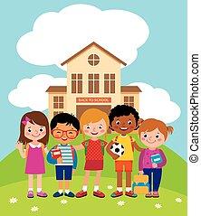 debout, bâtiment, école, groupe, vecteur, illustration.eps, devant, heureux, enfants, stockage