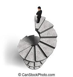debout, béton, escalier spirale, homme affaires