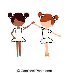 debout, ballet, dansez pose, deux, girl