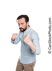 debout, barbu, boxe, pose, regarder, appareil photo, agressif, homme