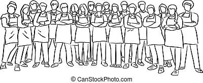 debout, beaucoup, chefs, pose, lignes, bras, illustration, isolé, vecteur, traversé, fond, noir, blanc