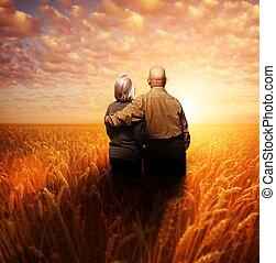 debout, blé, couple, champ, coucher soleil, personne agee