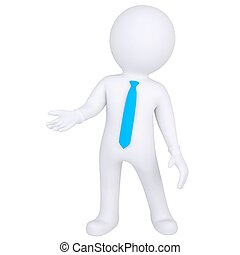 debout, blanc, 3d, homme
