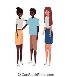 debout, blanc, groupe, gens arrière-plan