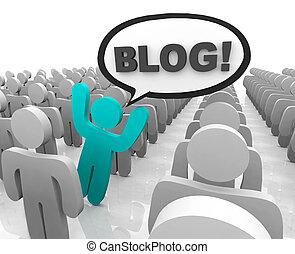 debout, blogger, foule, dehors