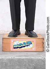 debout, boîte, savon