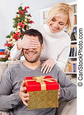 debout, boîte, yeux, sien, cadeau, elle, séance, couverture, jeune, divan, derrière, quoique, surprise!, tenant mains, petite amie, beau, lui, homme