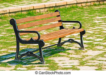 debout, bois, parc, ensoleillé, banc, jour, vide