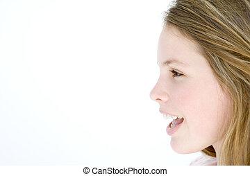 debout, bouche, adolescent, ouvert, girl