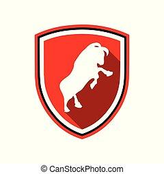 debout, bouclier, symbole, conception, taureau, écusson, rouges