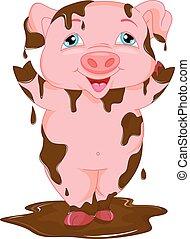 debout, boue, dessin animé, cochon