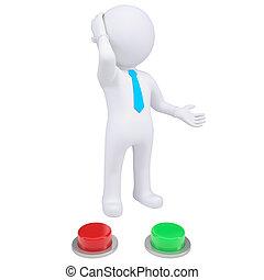debout, boutons, vert, 3d, rouges, homme