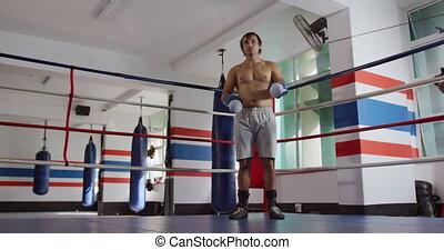 debout, boxe, caucasien, anneau, homme
