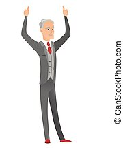 debout, bras haussés, haut, homme affaires, caucasien