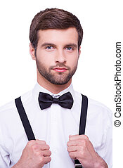 debout, bretelles, sien, chemise, ajustement, jeune, isolé, regarder, élégant, handsome., appareil photo, quoique, cravate, portrait, blanc, homme, arc, beau