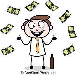 debout, bureau, argent, -, illustration, vecteur, employé, homme affaires, flotter, dessin animé