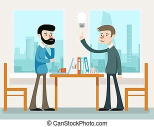 debout, bureau, stratégie commerciale, idea., hommes affaires, bureau, discuter