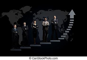 debout,  Business, équipe