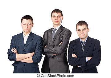 debout,  Business, jeune, hommes, plié, isolé, Trois, fond, mains, blanc