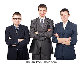 debout,  Business, jeune, hommes, plié, isolé, Trois, fond, mains, Sourire, blanc