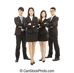 debout, business, réussi, jeune, ensemble, équipe