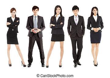 debout, business, réussi, jeune, ensemble, asiatique, équipe