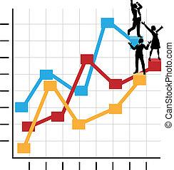 debout, business, reussite, gens, diagramme, croissance, célébrer