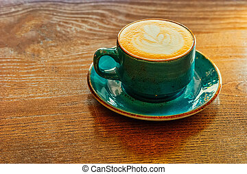 debout, cappuccino, coup, espace bureau, colorer image, m?g, idéal, bois, desk., tabletop, sarcelle, copie, côté, morning., gauche