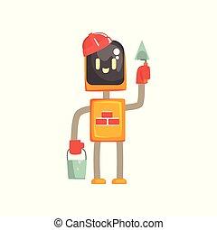 debout, caractère, seau, robot, illustration, truelle, vecteur, androïde, dessin animé, buider