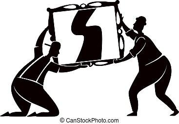 debout, caractères, pose., miroir, illustration., 2d, impression, réparateur, silhouette, verre, dessin animé, workers., noir, forme, pendre, vecteur, commercial, gens, service, animation, ménage