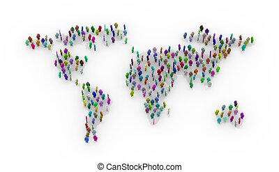 debout, carte, coloré, gens, mondiale, 3d