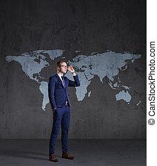 debout, carte, concept., business, arrière-plan., homme affaires, mondiale, globalisation