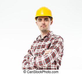 debout, casque, ouvrier, bras, jaune, traversé