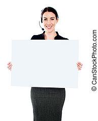 debout, centre, cadre, appeler, vide, panneau affichage