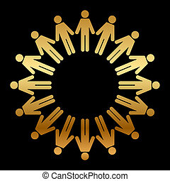 debout, cercle, gens