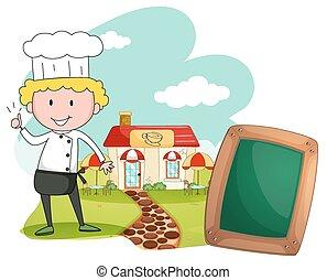debout, chef cuistot, café, devant