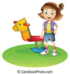 debout, cheval, jouet, printemps, à côté de, girl