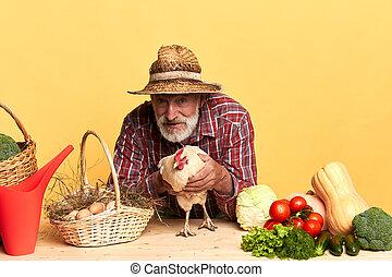 debout, choisi, légumes, haut, serre, mûrir, paysan, frais, il
