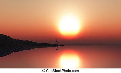 debout, ciel, contre, bord, coucher soleil, mer, homme, paysage, 3d