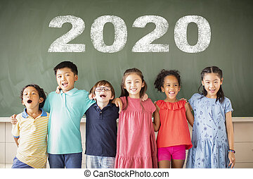 debout, classe, école, groupe, multi-ethnique, enfants