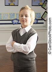 debout, classe, école, primaire, pupille, portrait, mâle