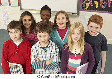 debout, classe, portrait, écoliers