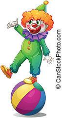debout, clown, balle, au-dessus