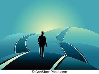 debout, collines, asphalte, sur, homme affaires, route