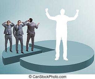 debout, concept, business, diagramme, tarte, homme affaires