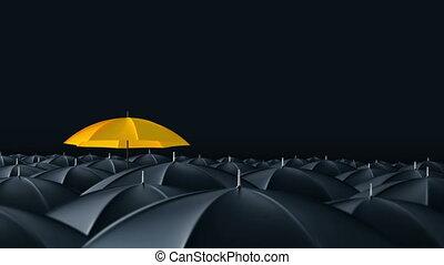 debout, concept, parapluie, foule, masse, dehors