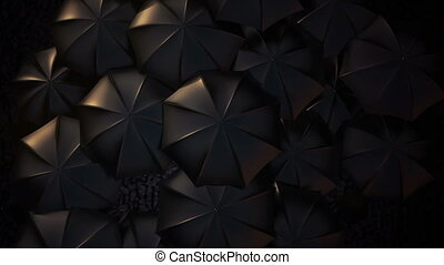 debout, concept, parapluie, foule, masse, orange, dehors