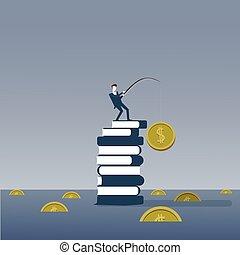 debout, concept, reussite, business, argent, stratégie, livres, peche, intelligence, education, pile, homme